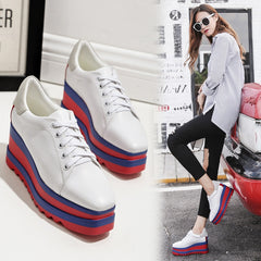 New Autumn Female Shoes Korean Thick Bottom Platform Increased Single Shoe Woman Muffin Bottom Lace Up Student Sport Shoes White