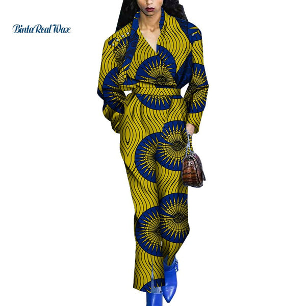 New Autumn Jumpsuit Fashion African Wax Print Jumpsuit for Women Bazin Riche Plus Size 6XL African Women Clothes WY4931
