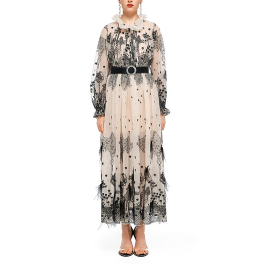 New Autumn Vintage Mesh Feather Embroidery Long Party Dress Women Runway Designer High Quality Long Sleeve Pleated Maxi Dress