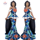 New Bazin Riche African Clothe Sleeveless V-Collar Maxi Dashiki African Skirt Plus Fashion Tops 2 Pieces Plus Size 6XL WY2388