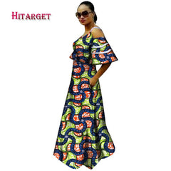 New Bazin Riche African Dresses for Woman Print Sexy Slash Neck Lotus  sleeve Dresses Dashiki African ... e027d02455e2