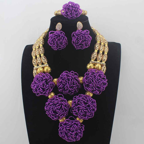 New Bib Purple dubai Crystal beads necklace Sets for women Nigerian African Wedding Bridal beads Jewelry Set W14039