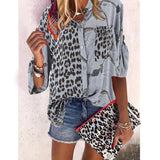 New Blouse Women Clothing Plus Size Shirt Female Print Floral Splicing Leopard Shirts Summer Ropa De Verano Mujer 2020