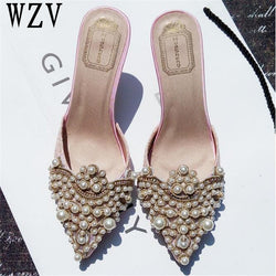 New Brand 2018 Summer Shoes Women Sweet Elegant Pearl Beaded High-heeled Shoes Thin Heels Pointed Toe Women Sandals c37