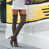 New Brown Stretch Leather Over The Knee Boots Sexy Pointed-toe Thigh High Ladies High Heels Thick Heel Slim Suede Casual Shoes