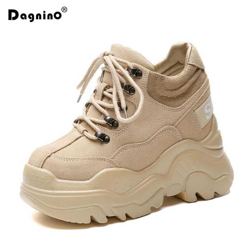 a82aad5423 New Casual High Platform Shoes Women Breathable Height Increasing Shoes  12CM Thick Sole Trainers Sneakers Woman