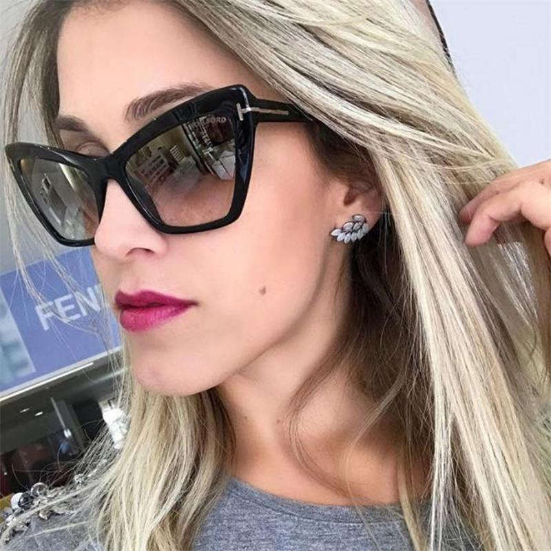 New Cat Eye Sunglasses Woman Vintage Retro Luxury Gradient rivet Sun Glasses  For Women 2018 Cateye ... 73c5647af8