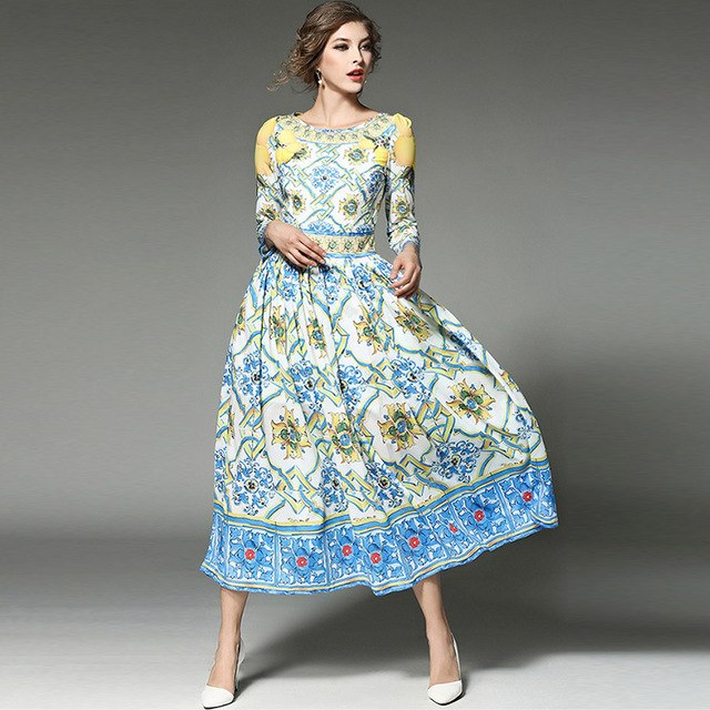 6d2068b4522 ... Maxi Dress Women Runway Dresses 2019 Women High Quality Autumn Blue and  White. Hover to zoom