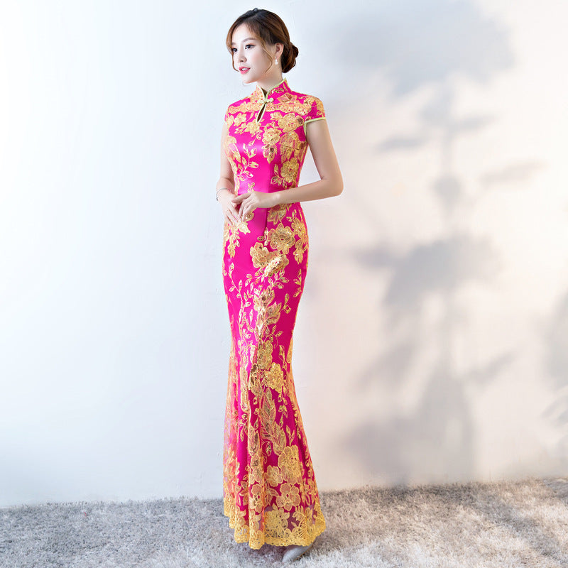 New Chinese Traditional Dress Womens Slim Cheongsam Embroidery