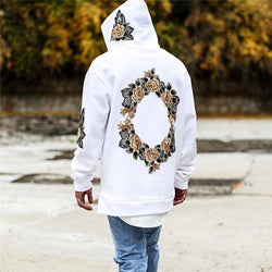 New Design Flower Embroidery Hoodies Men Hip Hop Side Split hoody Sweatshirts Hooded Pullover Long Sleeve Jumper Tops L140