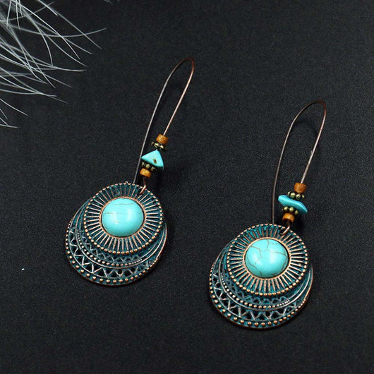 New Design Vintage Antique Round Blue Stone Hollow Dangle Earrings Fashion Jewelry For Women