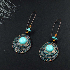 Image of New Design Vintage Antique Round Blue Stone Hollow Dangle Earrings Fashion Jewelry For Women