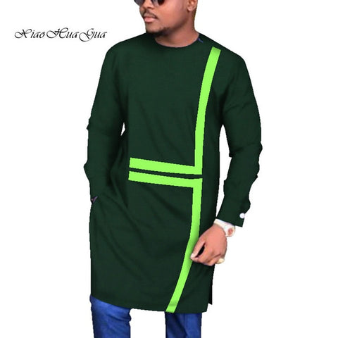 New Designs Causal Wedding Male Long Shirt Shirts Long Sleeve Dashiki African Print  African Clothing O neck Wax WYN683