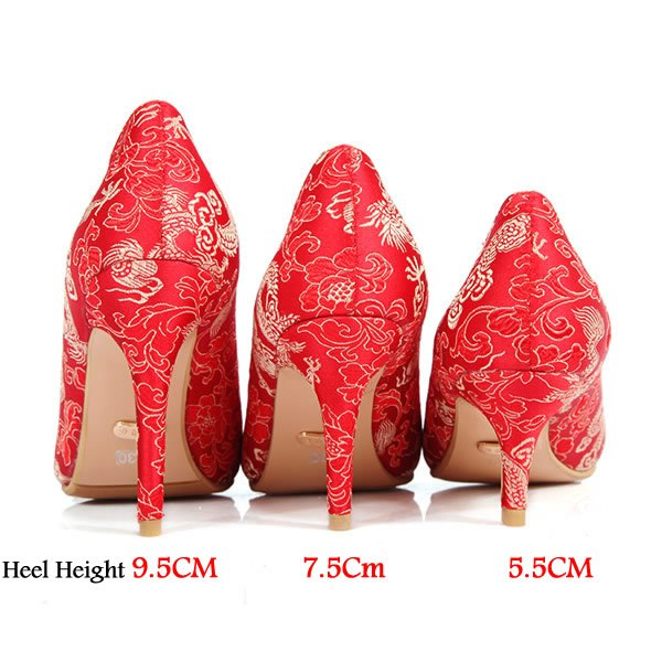 ... New Elegant red wedding shoes Chineses style bridal cheongsam dress  shoes thin high heels women pumps ac14ff31a90a