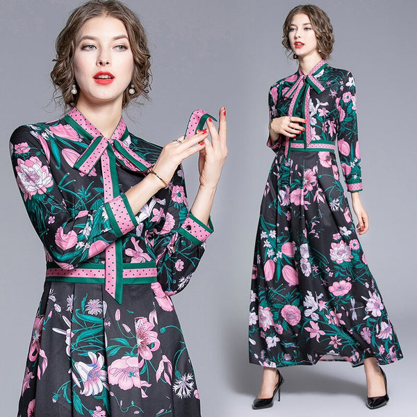 New Fashion 2019 Designer Runway Maxi Dress Women's Bow Tie Neck Long Sleeve Flowers Dot Printed Patchwork Party Long Dress