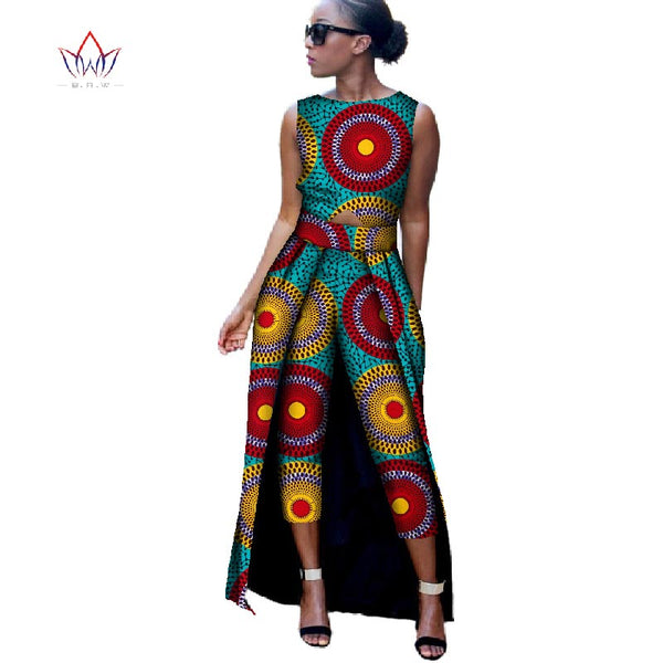 New Fashion Africa Cotton Print Romper African Bazin Riche Jumpsuit For Women Dashiki Fitness Jumpsuit For Lady WYD8