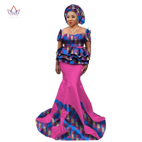 New Fashion African Skirt Set for Women Dashiki Elegant  African Clothes Applique Plus Size Traditional African Clothing WY2240