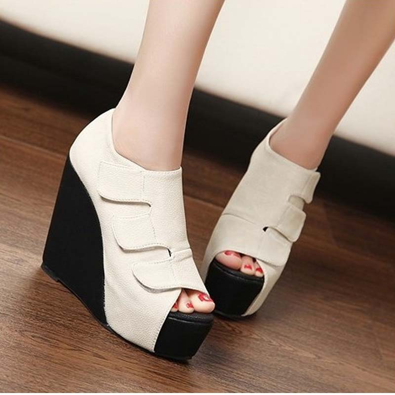 1bb163aa06 New Fashion Wedges High Heels Open Toe PU Leather Sandals Peep Toe Platform  Pumps Size Shoes. Hover to zoom