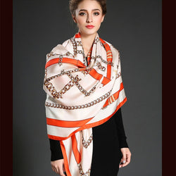 New Fashion Women Luxury Brand Twill Silk Scarf Geometric British Style Belt Print Square Scarves Shawls Wraps Hijab Headband