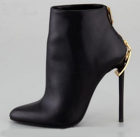 New Fashion Women Pointed Toe Black Leather Zipper Design High Heel Ankle Boots Hottest Winter Short Boots