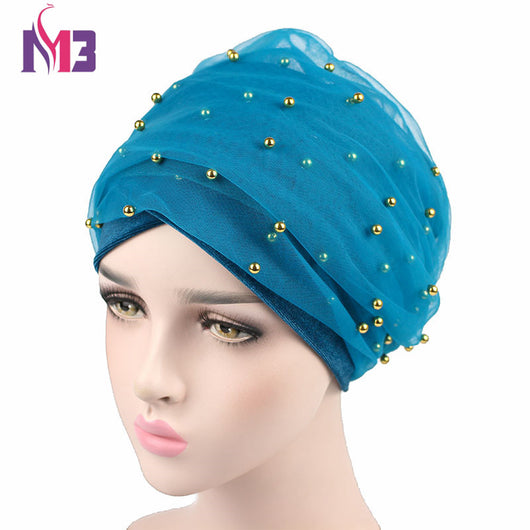 New Fashion Women Velvet Long Turban Headband Mesh Velvet Double Layer Gold Beaded Muslim Hijab Scarf Turbante Tie Headwrap