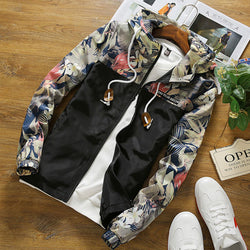 New Floral Printed Jacket Mens Hip Hop Slim Fit Flowers Male Bomber Jacket 2018 Fashion Spring Autumn Men's Hooded Coat Dropship