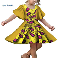 New Girls Patchwork Lace Print Dress Bazin Riche Children Kids Dress Custom Clothes Plus Size African Design Clothing WYT349