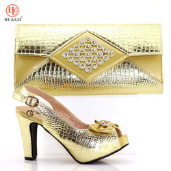 New Gold office Shoe and Bag Set Women Shoes and Bag Set In Italy Design Italian Shoes with Matching Bag Set Wedding Dress shoes