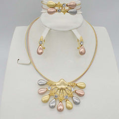 New High Quality Dubai Jewelry Set 3COLO Gold color Nigerian Wedding African Jewelry Sets Parure Bijoux Femme