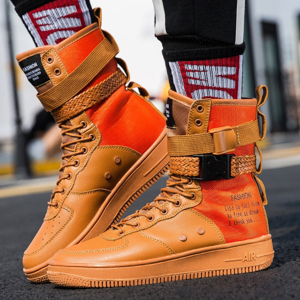 256e65340 New High Top Platform Sneakers men Belt Buckle martin Boots Unisex Dad  Chunky Sneakers zapatillas hombre casual tenis masculino