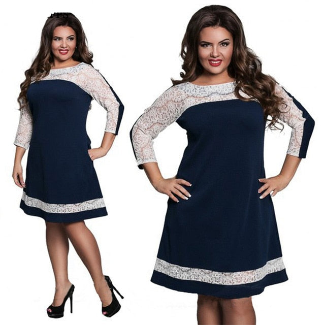 913296a5ab87 New L-6XL Plus Size Dress Fashion Women Large Size Straight Dress Sexy  Clothing Lace. Hover to zoom