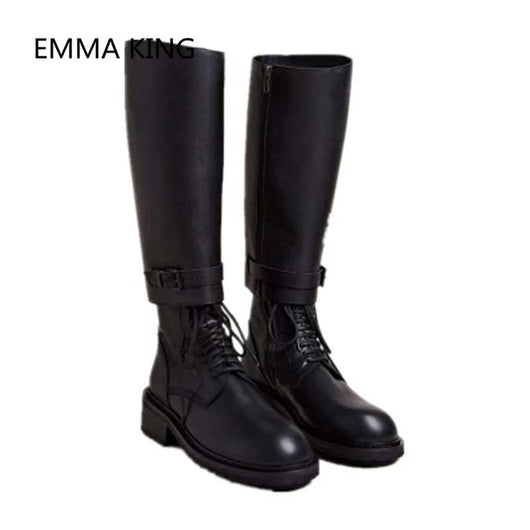 Gothic Womens punk Chunky Heels Lace Up knee High knight Platform Boots shoes