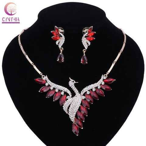 New Luxury Multicolored Crystals Pearl Jewelry Sets for Women Fashion White Red Beads Dubai Gold Color Party Wedding Accessorie