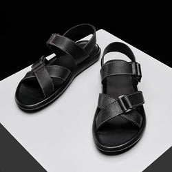 New Men Summer Sandals Fashion Breathable Soft Comfortable Genuine Leather Man Durable Sandals Casual Flats slippers adult shoes