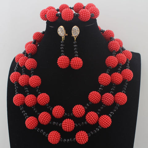 New Orange earrings Plastic Pearl Ball Neclaces Women Jewelry Nigerian Wedding African beads Jewelry Set Free Shipping W13697