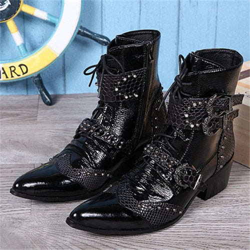 025c950204b New Punk Style Genuine Leather Men Ankle Boots Iron Pointed Toe Lace Up  Mens Military Cowboy Boots High Top Buckles Botas Hombre