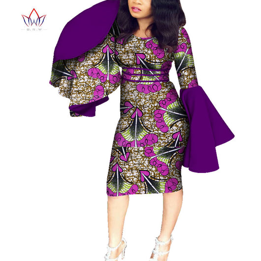 New Riche African Big Ruffles Long Sleeve Dresses for Women Dashiki Print Dresses Vestidos Women Wedding African Clothing WY7455