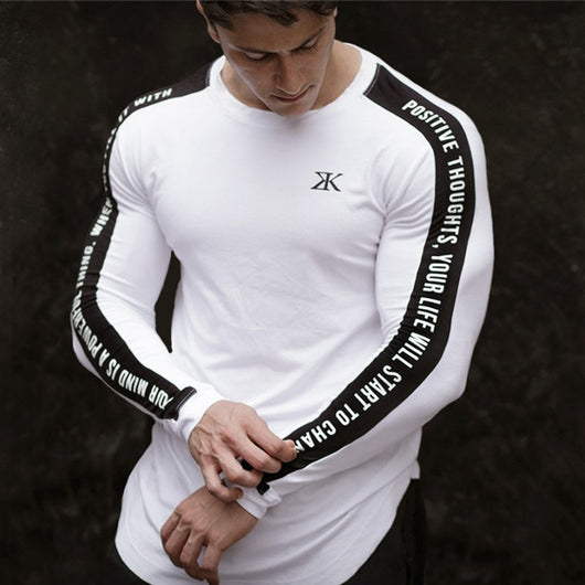 New Sport Shirt Men Fitness Running T Shirts Long Sleeve Sport Top Elastic Sportswear Gym Bodybuilding Training T-shirt