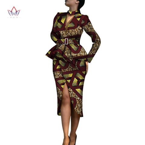 New Spring african skirt suits Dashiki for women elegant lady skirt set femme Bazin Riche cotton set plus size two pieces WY4324