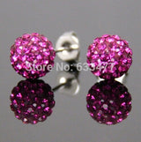 New Stainless Steel 19 Color Trendy Brand Earrings Top Quality Ball Crystal Stud Earring For Women Wholesale Fashion Jewelry