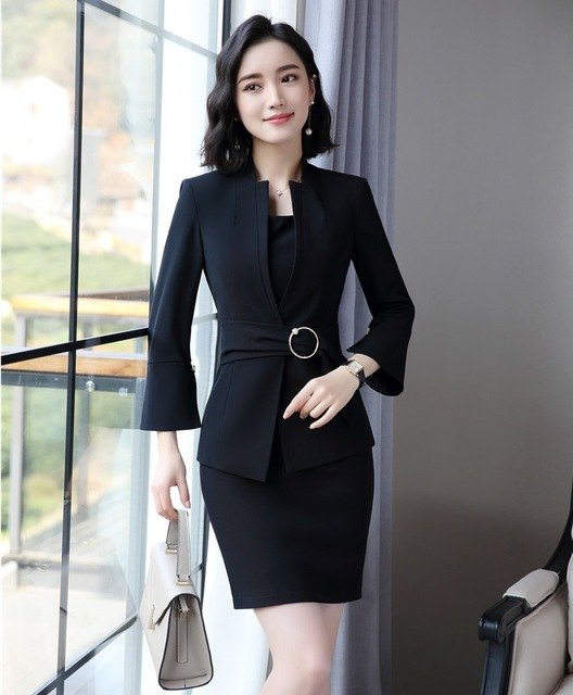 6a74da21207 Hover to zoom · New Style Fashion Grey Blazers Women Jackets Ladies Work  Wear Business Clothes Office Uniform Design