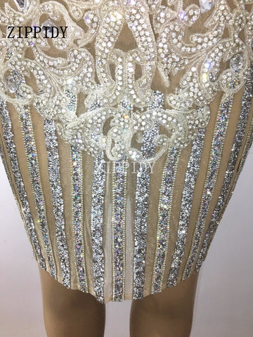 New Style Luxury Sparkly Crystals Belt Dress Bling Silver Rhinestones Women Costume Birthday Celebrate Singer Stage Wear Dresses