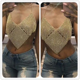 New Style Women Halter Handmade Rhinestones  Shiny Beach No back Vest Top 2017 Summer Party Club Gold Metal Diamond Top