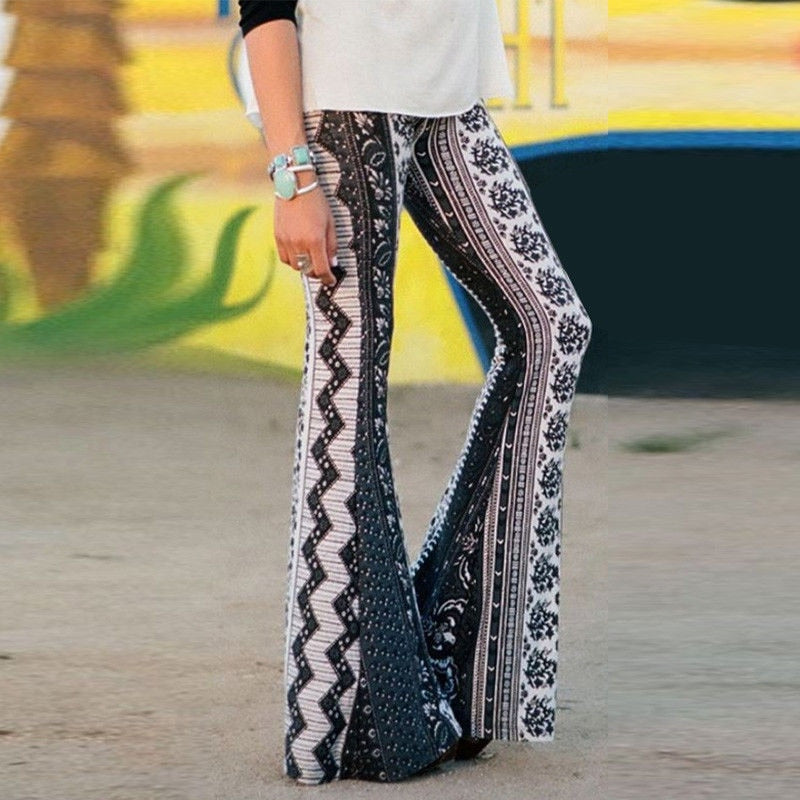 93bbd59353c4 ... New Style Women Vintage Boho Hippie High Waist Print Pants Trousers  Wide Leg Long Pants Holiday ...