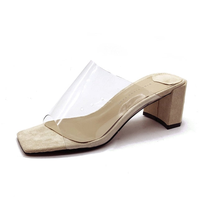 ec2f407597 Hover to zoom · New Summer Clear Transparent Women Shoes Woman Mules ...