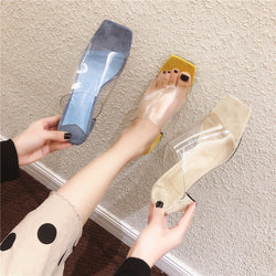 New Summer Clear Transparent Women Shoes Woman Mules Slippers Slides Square Peep Toe Med Heels Slippers Female Ladies Shoes