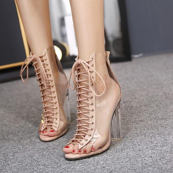 New Summer Sandals Sexy PVC Transparent Gladiator Sandals Cross Strappy Peep  Toe Shoes Clear Chunky heels ... f5d9b0900676