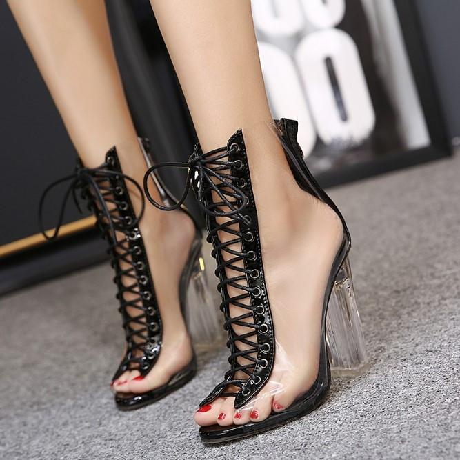 ... New Summer Sandals Sexy PVC Transparent Gladiator Sandals Cross Strappy Peep  Toe Shoes Clear Chunky heels ... 4e0996c57435