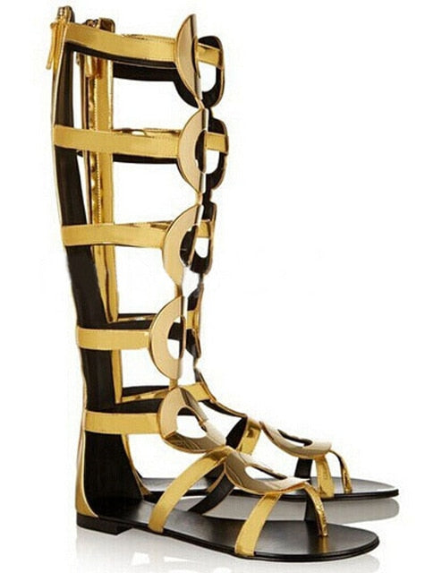 a1681c1fc Hover to zoom · New Summer Women Knee High Boots Gladiator Sandals Ankle  Boots Back Zipper Gold Circle Hollow Out