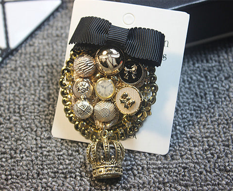 New Vintage Women Clock Brooches Fabric Long Tassel Rhinestone Link Brooch Pin Fashion Clothing Accessories Hot High Quality